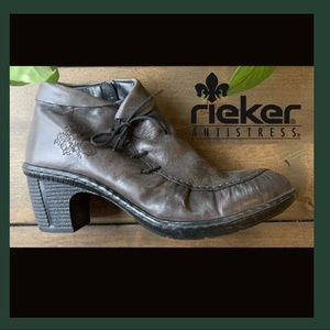 Rieker Rebecca Olive Green Leather Boots size 41
